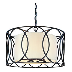 Troy Lighting - Troy Lighting Sausalito Transitional Pendant Light X-BD5821F - Charming intersecting rings border this Troy Lighting Sausalito Transitional Pendant Light! Finished in Deep Bronze, the slender black cylindrical frame envelops a cream Linen shade for a graceful look that complements a variety of interiors.