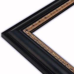 The Frame Guys - Round Black with Gold Ornate Lip Picture Frame-Solid Wood, 4x6 - *Round Black with Gold Ornate Lip Picture Frame-Solid Wood, 4x6