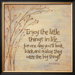 Artcom - Enjoy The Little Things by Karen Tribett - Enjoy The Little Things by Karen Tribett is a Framed Art Print set with a COVENTRY Black Thin wood frame.