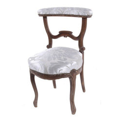 Pre-owned 19th Century French Damask Prie-dieu Chair - A Godsend, this Louis Phillipe, 1870,  hand carved wood prie-dieu (or devotional) chair was once designed and intended for prayer. The toprail and seat have been newly upholstered in a gorgeous silver damask.  Nailhead trim provides a finishing touch.