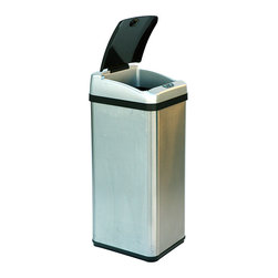 iTouchless - iTouchless 13-gallon Rectangular Extra-wide Stainless Steel Automatic Sensor Tra - The built-in infrared sensor on this iTouchless trash can allows the lid to open when your hand or any object approaches within 6 inches of the sensor range. Since there is no direct contact with the can or lid, it eliminates the spread of germs.