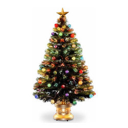 48 In. Fiber Optic Fireworks Ornament Christmas Tree w/ Top Star - Measures 48 inch high with a 27 inch diameter. For indoor use only. Tip count: 200. Gold column base and top star. Single bulb operation from base. Includes AC adapter.