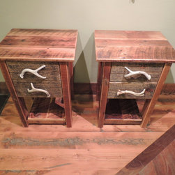 Barnwood Bedroom Furniture - 2 Drawer Barnwood Nightstands with Antler Pulls :: Lonepine Lodgepole