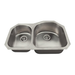 "MR Direct - MR Direct US1031R Offset Double Bowl Stainless Steel Sink - Our collection of US made stainless steel kitchen sinks is made from 300-series stainless steel. The surface has a brushed satin finish to help mask small scratches that occur over time and keep your sink looking beautiful for years. The overall dimensions of the US1042 are 23 1/2"" x 21 1/8"" x 8"" and a 27"" minimum cabinet size is required. This sink contains a 3 1/2"" Offset drain, is fully insulated and comes with sound-dampening pads. As always, our stainless steel sinks are covered under a limited lifetime warranty for as long as you own the sink."