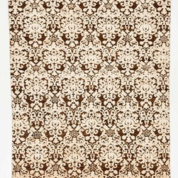 Rug Knots - Brown and White Modern Oriental Rug without Borders - Just because this rug keeps a simple, neutral color scheme of brown and white doesn't mean it's boring at all. Deep contrast and intricate designs make this rug a visual delight. Creamy whites pop against a rich, chocolate brown background -- and physically stand out with a higher pile height, too. This handmade, hand-dyed rug features varying shades of brown, beige, and white throughout each fiber for a rustic, chic look. Dress up your dining room or add depth to a bland living room with this exciting rug