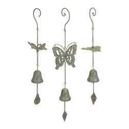 "IMAX - Nalia Cast Iron Butterfly Wind Chimes - Set of 3 - With a faux verdigris finish, the Nalia cast iron butterfly wind chimes add a peaceful sound to any outdoor area. Item Dimensions: (18-18.5-23""h x 3.75-5-5""w x 2.5-2.5-2.5"")"