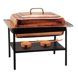 Stainless Steel Chafing Dish - Decor Copper - This Rectangular Stainless Steel Chafing Dish from Old Dutch is a versatile buffet chafing dish that can be used to keep hot dishes hot or cool dishes cool while serving friends, family, and guests at your next dinner party or family gathering. This Old Dutch chafing dish boasts a generous 8 qt. capacity and comes in a chafing dish set that includes the chafing dish itself, a lid with handle, water pan, dual fuel holders with adjustable openings, and a sturdy metal frame with carrying handles to make set up take down a breeze.