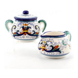 Artistica - Hand Made in Italy - VECCHIA DERUTA: Creamer and Sugar Bowl set - VECCHIA DERUTA Collection: (Old Deruta) - A richer and more formal version of the renowned Ricco Deruta pattern. Featuring scalloped rim plates with a dominant royal blue trim. Both inspired by the frescoes of the master Renaissance artist Raphael.