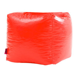 Best Selling Home Decor - Red Parker Vinyl Bean Bag Cube Ottoman - Comfortable and durable, this bean bag ottoman has a vinyl cover and is filled with long-lasting polystyrene beans. They are perfect for a bedroom, home theater rooms, family and game rooms. Color: Various; Materials: Vinyl, polystyrene beans; Weight: 3 pounds; Diameter: 16 inches; Fill: Polystyrene beans; Cover: Cover is double-stitched along all seams and is not removable; also includes hidden stitching and seams; Puncture proof; Care Instructions: Spot Clean; Dimensions: 18 inches high x 18 inches wide x 18 inches deep; Made in the US; Kid friendly