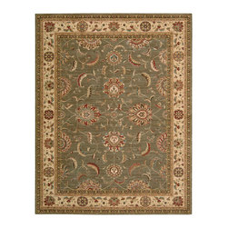 "Nourison - Nourison Living Treasures LI04 9'9"" x 13'9"" Green Area Rug 67829 - Whirling and swirling in elegant arabesques, this beautifully woven floral design puts a new spin on tradition. Lush flowerheads burst with life on a field of sensuous sage green, with sparkling accents of ivory and red."