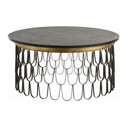 Arteriors Home - Arteriors Home Orleans Cocktail Table - Arteriors Home 4083 - Arteriors Home 4083 - Scalloped iron stacks to form a scale patterned base with gold leaf detailing for this cocktail table. The round black top is rough hewn marble.