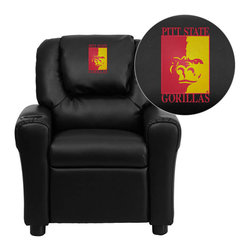 "Flash Furniture - Pittsburg State University Gorillas Black Leather Kids Recliner with Cup Holder - Get young kids in the college spirit with this embroidered college recliner. Kids will now be able to enjoy the comfort that adults experience with a comfortable recliner that was made just for them! This chair features a strong wood frame with soft foam and then enveloped in durable leather upholstery for your active child. This petite sized recliner is highlighted with a cup holder in the arm to rest their drink during their favorite show or while reading a book. Pittsburg State University Embroidered Kids Recliner; Embroidered Applique on Oversized Headrest; Overstuffed Padding for Comfort; Easy to Clean Upholstery with Damp Cloth; Cup Holder in armrest; Solid Hardwood Frame; Raised Black Plastic Feet; Intended use for Children Ages 3-9; 90 lb. Weight Limit; CA117 Fire Retardant Foam; Black LeatherSoft Upholstery; LeatherSoft is leather and polyurethane for added Softness and Durability; Safety Feature: Will not recline unless child is in seated position and pulls ottoman 1"" out and then reclines; Safety Feature: Will not recline unless child is in seated position and pulls ottoman 1"" out and then reclines; Overall dimensions: 24""W x 21.5"" - 36.5""D x 27""H"