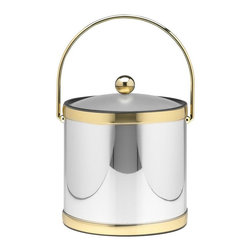 Kraftware - Mylar Ice Bucket in Polished Chrome and Brass - Bale handle. Lucite cover. Flat knob. 3 quart ice bucket. Made in USA. 9 in. Dia. x 9 in. H (3 lbs.)Kraftware's Mylars bring the look of Metal at Vinyl prices. Great value, Great looks, and Great Entertaining sum up the Mylar Collection.