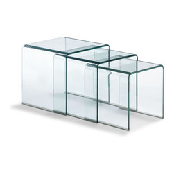 ZUO - Explorer Nesting Table - The Explorer Nesting Tables are simple but chic. Crafted from bent semi-tempered glass with rubber corners. They snuggle quietly until you're ready to pull them out.