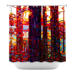 DiaNoche Designs - Shower Curtain Unique from DiaNoche Designs by Mandy Budan - Carnelian Morning - DiaNoche Designs works with artists from around the world to bring unique, artistic products to decorate all aspects of your home.  Our designer Shower Curtains will be the talk of your guests every visit to your bathroom!  Our Shower Curtains  are 71 x 74 inches, have Sewn reinforced holes for curtain rings (Shower Curtain Rings Not Included).  Polyester material does not hold moisture and will not grow mildew.  Dye Sublimation printing adheres the ink to the material for long life and durability. Machine Wash upon arrival for maximum softness on cold and dry low.  Printed and shipped in the USA!