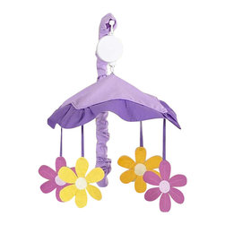 Sweet Jojo Designs - Daisies Mobile - Daisies Mobile by Sweet Jojo Designs will have you putting your baby to sleep in style. When wound up this crib mobile spins and plays Brahms' lullaby. This musical crib mobile has been manufactured to fit standard sized cribs. The mobile set includes a musical mobile frame, canopy with hanging toys, and matching arm sleeve cover.