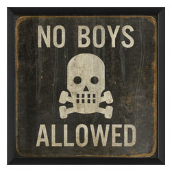 "The Artwork Factory - 'No Boys Allowed' Print - This way to the girl's room. It just doesn't get more explicit than ""No Boys Allowed"" with a scull and crossbones. On the other hand, if it makes you laugh, you're welcome to enter regardless of gender."