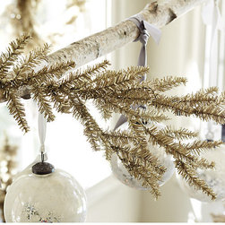 Ballard Designs - Suzanne Kasler Tinsel Branches - Set of 3 - Coordinates with Suzanne's Tinsel Wreaths & Petite Trees. Tinsel over bendable wire. Handmade. Suzanne Kasler designed these champagne-colored Tinsel Branches to tuck into your tree or greenery for an extra touch of holiday sparkle. Suzanne Kasler Tinsel Branch features:  . . .