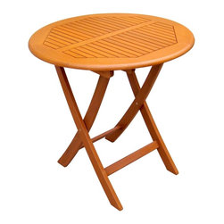 International Caravan - Caravan Balau Wood Round Folding Patio Table - Weatherproof. Premium stain finish. Folding mechanism for easy storage. Can be used indoors or outdoors. Made of Balau hardwood. No assembly required. 27 in. Dia. x 27 in. H (31 lbs.)