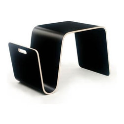 Offi - Offi Mag Designer Laminate Modern End Table in Black Finish (Set of 3) - Designed by Eric Pfeiffer from Pfeiffer Lab - San Francisco, CA. Made from molded ply with natural wood veneer or high pressure laminate. No assembly required. 25.5 in. W x 14 in. D x 16 in. HA flexible side table that stores your magazines while providing a surface for a cup of coffee or an extra seat. When it's time to check email, flip this table on its side and it transforms into a laptop stand.