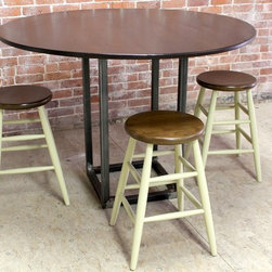 Round Bar Height Table With Steel Base - http://www.ecustomfinishes.com