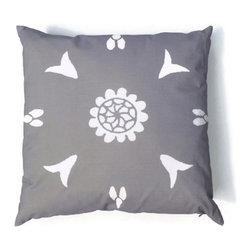 Gray Pillow Suzani Moroccan African 20 x 20 - Suzani Throw Pillow in Gray and Off White Print. This is one of my original textile designs printed on 6 oz weight cotton fabric. Back side is solid gray and this pillow has an invisible zipper for easy access. Can be machine washed separately on delicate cycle, cold water with non-phosphate detergent and line dried. However, dry cleaning is recommended for best result. (Style: Suzani Tile)