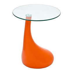 East End Imports - Teardrop Side Table Orange - Extend a small form throughout the cosmos with this perpetuating piece. Teardrop acts without dictation, with a fluid shape that establishes a normal and settled pace to your room. Turn tiny expressions of emotion into a rejuvenating experience with this side table of import.