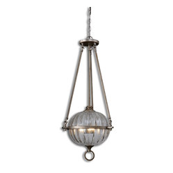 Uttermost - Alicante 3-Light Orb Pendant - It's time you suspended all disbelief about finding the right lighting for your Tuscan kitchen or updated bathroom. And while you're at it — go ahead and suspend this beautiful orb pendant. With a fluted glass dome and warmed silver-metal arms, this three-light pendant light would make a believer out of anybody.