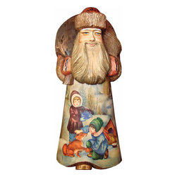 """Artistic Wood Carved Santa Claus Making Friends Sculpture - Measures 8""""H x 3""""L x 4.5""""W and weighs 2 lbs. G. DeBrekht fine art traditional, vintage style sculpted figures are delightful and imaginative. Each figurine is artistically hand painted with detailed scenes including classic Christmas art, winter wonderlands and the true meaning of Christmas, nativity art. In the spirit of giving G. DeBrekht holiday decor makes beautiful collectible Christmas and holiday gifts to share with loved ones. Every G. DeBrekht holiday decoration is an original work of art sure to be cherished as a family tradition and treasured by future generations. Some items may have slight variations of the decoration on the decor due to the hand painted nature of the product. Decorating your home for Christmas is a special time for families. With G. DeBrekht holiday home decor and decorations you can choose your style and create a true holiday gallery of art for your family to enjoy. All Masterpiece and Signature Masterpiece woodcarvings are individually hand numbered. The old world classic art details on the freehand painted sculptures include animals, nature, winter scenes, Santa Claus, nativity and more inspired by an old Russian art technique using painting mediums of watercolor, acrylic and oil combinations in the G. Debrekht unique painting style. Linden wood, which is light in color is used to carve these masterpieces. The wood varies slightly in color."""