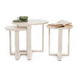 NYFU - Tribeca Nesting Tables - A table within a table within a table or three footstools! Use as you please. These oval stackable tables are lifesavers when you have guests over. Ideal for all hospitable urbanites! The maple wood base provides a durable structure while giving these multi purpose tables a refreshing color. Enjoy the simple assembly process.