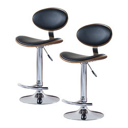 Leick Furniture - Leick Furniture Adjustable Height Swivel Stool in Black (Set of 2) - Leick Furniture - Bar Stools - 10043 - The Leick Black Oval Adjustable Height Swivel Bar Stool offers a heavy duty steel cylinder for smooth reliable seat height adjustment. A versatile seat for counter height bar height or anything in between. Full swivel seats and sturdy footrests deliver comfort in this bold chrome and faux leather beauty. Constructed of durable plywood with interesting wood grain style and steel this bar stool will last for years.