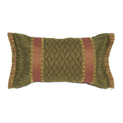"Frontgate - Savoie Green Lumbar Pillow - From Eastern Accents. Savoie Olive Lumbar Pillow (77809): 22"" x 13"".. Dry clean only recommended. Because this bedding is specially made to order, please allow 4-6 weeks for delivery.. Lavish royalty is brought to mind with our Vaughan Bedding Collection. Exemplifying refined luxury, Vaughan boasts robust shades of red and gold in an elegantly pieced ensemble. Dimensional ruching and signature trimmings accent this sumptuously embellished collection.  . .  . . Made in Italy. Coordinates with the Vaughan Bedding Collection."