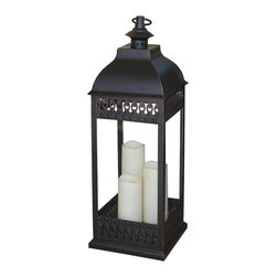 Smart Solar - San Nicola Triple LED Candle Lantern - Antique Bronze - Battery powered triple pillar LED candle lantern in Antique Bronze finish that is suitable for both outdoor and indoor use. Durable Poly construction with real glass and metal hanging loop. 3 way switch: On / Off / Timer. Timer for 6 hours on/18 hours off so the lantern lights up at the same time each day. 9.5 in. L x 9.5 in. W x 31.25 in. H. Can be placed on any flat surface, or hung with the integrated metal hanging loop. Candles powered by 3 integrated LED's. Requires 2 C size alkaline batteries (NOT included)