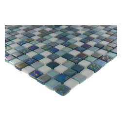 """Sample Whimsical Iridescent Teal - sample-WHIMSICAL IRIDESCENT TEAL 1/4 SHEET GLASS TILES SAMPLE You are purchasing a 1/4 sheet sample measuring approximately 6"""" x 6"""". Samples are intended for color comparison purposes, not installation purposes.-Glass Tiles -"""