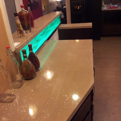 Concrete counter top with glass back splash LED