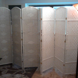 Room Dividers, Folding Screens, Partitions, Decorative Screens, Room Separators - Photo taken with room dividers expanded to partition off living room for privacy.
