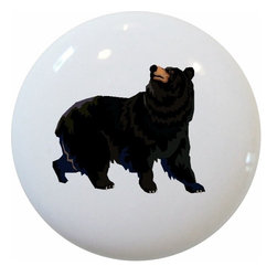 Carolina Hardware and Decor, LLC - Black Bear Ceramic Cabinet Drawer Knob - New 1 1/2 inch ceramic cabinet, drawer, or furniture knob with mounting hardware included. Also works great in a bathroom or on bi-fold closet doors (may require longer screws).  Item can be wiped clean with a soft damp cloth.  Great addition and nice finishing touch to any room!