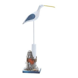 Wooden Sea Bird Sculpture - 4W x 16H in. - Birds of a feather draw the decor together - thank you, Wooden Sea Bird Sculpture - 4W x 16H in. Looking fit for a beautiful beach, this sky-faring fellow is crafted of high-quality wood in a gray-white finish. Blue wings and a yellow beak add that perfect hint of color, and the sturdy, stable base means this feathered friend stands tall. Plus, the base features a net accent complete with crab and clam.