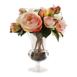 "Jane Seymour Botanicals - Roses in Glass, Pink/White - Symbols of grace and elegance, pink roses instantly elevate the profile of your favorite setting. And no one need know your secret — these remarkably realistic ""forever flowers"" will never lose a single petal."