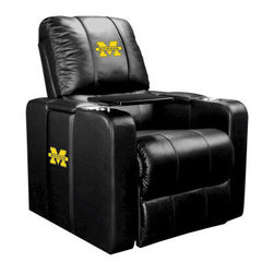 Dreamseat Inc. - University of Michigan NCAA Wolverines Home Theater Plus Leather Recliner - Check out this Awesome Leather Recliner. Quite simply, it's one of the coolest things we've ever seen. This is unbelievably comfortable - once you're in it, you won't want to get up. Features a zip-in-zip-out logo panel embroidered with 70,000 stitches. Converts from a solid color to custom-logo furniture in seconds - perfect for a shared or multi-purpose room. Root for several teams? Simply swap the panels out when the seasons change. This is a true statement piece that is perfect for your Man Cave, Game Room, basement or garage. It combines contemporary design with the ultimate comfort from a fully reclining frame with lumbar and full leg support.