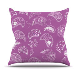 """Kess InHouse - Anneline Sophia """"Tropical Paisley"""" Purple White Throw Pillow (26"""" x 26"""") - Rest among the art you love. Transform your hang out room into a hip gallery, that's also comfortable. With this pillow you can create an environment that reflects your unique style. It's amazing what a throw pillow can do to complete a room. (Kess InHouse is not responsible for pillow fighting that may occur as the result of creative stimulation)."""