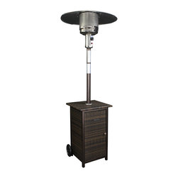 HomComfort - 41K BTU Patio Heater with Wicker Stand - Propane, Wicker Stand - Durability and style define this outdoor patio heater with wicker stand. Perfect for patios and pool sides this 87 inch tall heater comes with large wheels for easy maneuverability. It has an adjustable valve and can provide up to 41,000 Btu's of soothing radiant heat. The Resin wicker stand will provide years of non fading use. This heater also has electronic piezo ignition for easy starts.