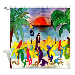 Mermaids Wine Bar Shower Curtain - Beautiful shower curtains created from my original art work. Each curtain is made of a thick water resistant polyester fabric. The permanently applied art work appears on the front side with the inside being white. 12 button holes for easy hanging, machine washable and most importantly made in the USA. Shower rod and rings not included. Size is a standard 70''x70''