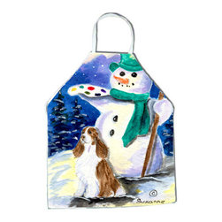 Caroline's Treasures - English Springer Spaniel Apron - Apron, Bib Style, 27 in H x 31 in W; 100 percent  Ultra Spun Poly, White, braided nylon tie straps, sewn cloth neckband. These bib style aprons are not just for cooking - they are also great for cleaning, gardening, art projects, and other activities, too!