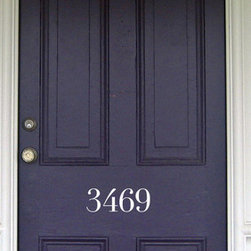 Vinyl House Number Decal by TM Decals - This look is simple, elegant and sophisticated. I love the color of the door paired with the white house numbers.