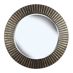 """Kenroy - Kenroy 60021 North Beach Wall Round Mirror - With a boldly textured, carved ring frame and a rich looking Bronze finish, this mirror will make a statement in your home.  Overall Product Dimensions: 34 Inch Diameter Mirror Size:  25 Inch Diameter 1"""" Beveled Silver Mirror"""