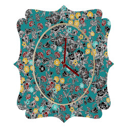 DENY Designs - Sharon Turner Cloisonne Flowers Quatrefoil Clock - Tick tock, tick tock. When time feels like it's standing still, check out the quatrefoil clock collection. With a sleek mix of baltic birch ply trim that's unique to each piece and a glossy aluminum face, this quatrefoil clock is just what you need to make the day go by just a little bit faster.