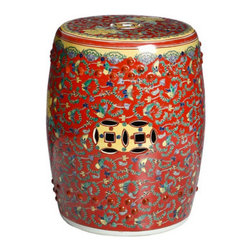 Famille Rose Red Floral Chinese Porcelain Stool - I love the bold red of this garden stool. It would be very pretty in a traditional den paired with denim blues and yellow.