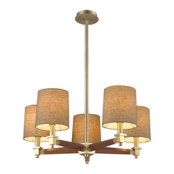 Elk Lighting - Jorgenson 5-Light Chandelier in Mahogany and Satin Brass - The Jorgenson Collection stylishly bridges the gap between mid-century modern furniture design and lighting. This collection was designed using solid wood that emulates the tapered angle of fine furniture legs and angular metalwork that compliments its sleek style. Choose between two combinations of taupe wood, polished nickel metalwork and champagne fabric shades, or mahogany finished wood, satin brass metalwork and tan crosshatch textured linen shades.