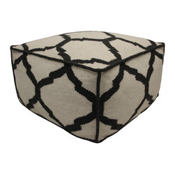 JITI - Vase Pattern Black and Cream Pouf - This beautiful pouf will light up any room. Made from 100% wool. 24X24X13. Has a polystyrene bead insert. Comes with a zipper so you can wash the cover. Dry Clean Only. Very lightweight.